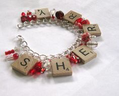 red and white scrabble bracelet