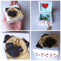 Pug Love Hand-painted small wooden box, perfect for jewellery. vintage kitsch home decor, perfect gift for pet lovers. Tapas, Small Wooden Boxes, Doe Eyes, Wooden Hand, Pug Love, Gifts For Pet Lovers, Affordable Art, Kitsch, Pet Dogs