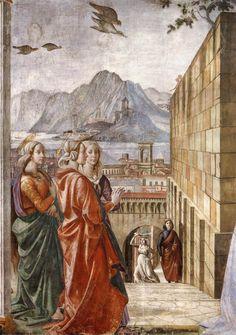 DOMENICO GHIRLANDAIO (1449 - 1494) |  Visitation, detail - 1486/90. Fresco | Cappella Tornabuoni, Santa Maria Novella, Florence.