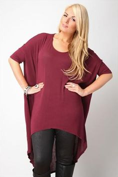 Wine Oversize Dipped Hem Longline Top With 3/4 Sleeves
