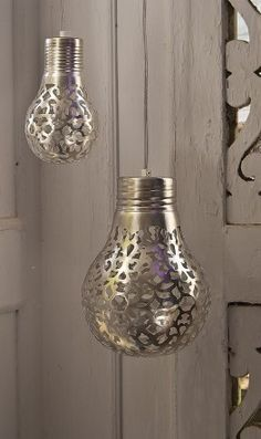 A Bit of Bees Knees: DIY: Lace Light Bulbs. Cover a clear light bulb with a doily and spray paint it a metallic paint