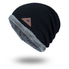 0e9a22e9e86 Mens Plus Velvet Warm Knitted Beanie Hat Solid Outdoor Elastic Skull Caps