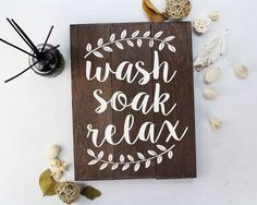 Image result for bathroom letters vertical relax