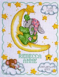 Janlynn Crescent Moon Birth - Cross Stitch Kit. Complete kit includes 14 Ct. White Aida, 6 strand cotton floss, needle, graph, and instructions. Finished size i