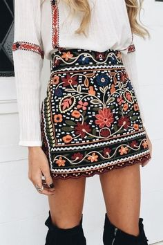 summer outfits  White Blouse + Black Printed Skirt