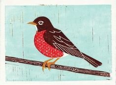 Robin linocut print by annasee (via Creature Comforts and kirtsy) #robin #printmaking #linocut #annasee