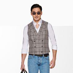 Suit Supply, Double Breasted, Spring Summer, Vest, Slim, Pockets, Button, Elegant, Brown