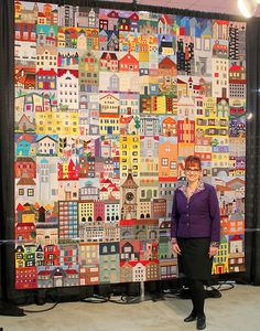 Fall Quilt Market - Houston, TX I just LOVE all the houses! What a beautiful quilt!I just LOVE all the houses! What a beautiful quilt! Fall Quilts, Scrappy Quilts, Patchwork Quilting, House Quilt Block, Quilt Blocks, Quilting Projects, Quilting Designs, Art Projects, Quilting Ideas