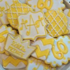 Yellow custom birthday cookies from Little Prince Cookies