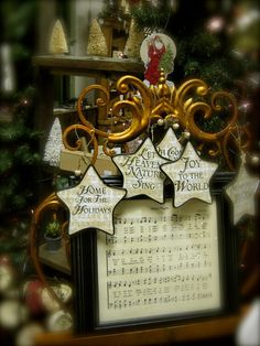 Musical ornaments (sheet music): Very victorian    Heidi's Cottage, Dunellen NJ heidiscottage.com for more info