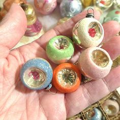 Box-Japan-Vtg-Miniature-Feather-Tree-Indents-Mica-Colors-Glass-Xmas-Ornaments