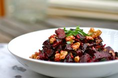 Add some color to your dinner table:  Roasted Beets with Walnuts, Tarragon and Bacon Vinaigrette from blackberriesandbloodoranges.com. #side dish, #recipe