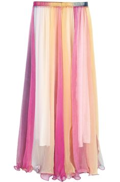 TOO CUTE NOT TO HAVE!! Multicolor Rainbow Print Silk Skirt US$23.88
