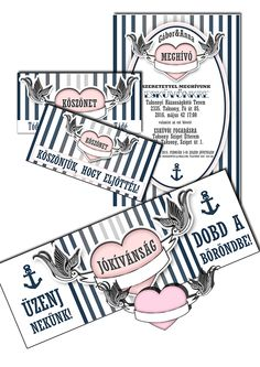 Vintage swallow& heart inspired wedding invitation template, a little bit navy piece.