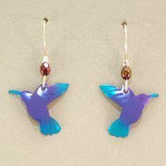 Holly Yashi Hummingbird Earrings - Purple