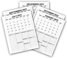 Printable Calendars July - December 2014 - Time-Warp Wife | Time-Warp Wife