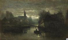 Edouard Joris Moerenhout: Stille Mondnacht. Einsamer Ruderer auf einem durch eine belgische Kleinstadt führenden Kanal aus unserer Rubrik: Gemälde des 19. und frühen 20. Jahrhunderts