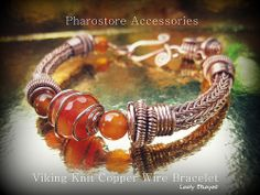 Viking Knit Copper wire bracelet by Pharostore Accessories Looly Elzayat… Copper Jewelry, Copper Wire, Wire Jewelry, Viking Knit Jewelry, Large Hole Beads, Baubles And Beads, Woven Bracelets, Wire Weaving, Bead Crafts