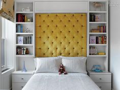 Polyester-viscose upholsters the custom headboard in the daughter's room.Photography by Eric Laignel.