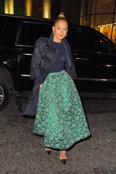 Lace? and brocade! In New York City on January 21, 2015. Getty  - ELLE.com