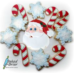 Santa with candy cane cookies