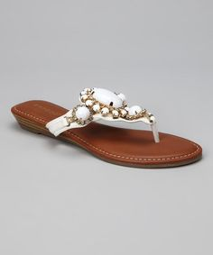 Take a look at this White & Gold Wonderful Sandal by Bamboo on #zulily today!