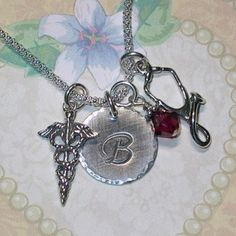 Stethoscope Necklace Medical Hand Stamped by DolphinMoonCreations