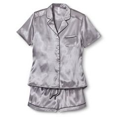 Women's Satin Short Pajama Set Mesa Grey M
