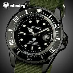 INFANTRY Mens Watches Top Brand Luxury Sport Military Watch Men Army Tactical Nylon Nato Strap Wristwatch Tops Relogio Masculino From Touchy Style Outfit Accessories.| Variant: Silver Black SBN / United States .
