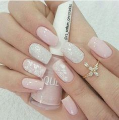 Have you discovered your nails lack of some trendy nail art? Sure, recently, many girls personalize their nails with lovely … Beautiful Nail Art, Gorgeous Nails, Pretty Nails, White Nails, Pink Nails, Glitter Nail Art, Pink Glitter, Glitter Outfit, Glitter Shirt