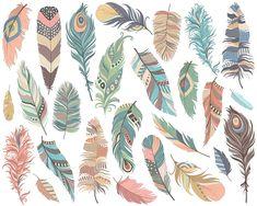 Stammes-Federn ClipArt Set 26 300 DPI PNG JPG von KennaSatoDesigns