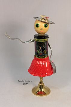 """Eileen"" ~ Found object art created by Laurie Schnurer. To purchase one of Laurie's Creatures click on this link to my sales page. https://www.facebook.com/LauriesCreatures/"