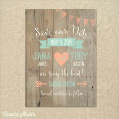Colour theme save the dates printed on wood.