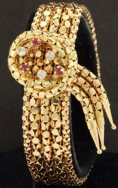 Hallmarked vintage heavy 18K gold .48CTW diamond/ruby wide tassel bracelet