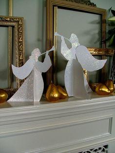 anges qui annoncent la Bonne Nouvelle (papier épais et paillettes)