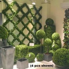 Artificial Boxwood Trellis Espalier with UV protection that is long lasting Boxwood Landscaping, Boxwood Garden, Garden Trellis, Balcony Garden, Front Yard Landscaping, Landscaping Ideas, Backyard Ideas, Wall Trellis, Boxwood Hedge