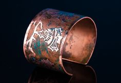 etched copper bracelet with five bats - wu fu  Vienetinė varinė apyrankė - katesakis.lt