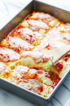 Spinach & Ricotta Zucchini Lasagna Roll-Ups