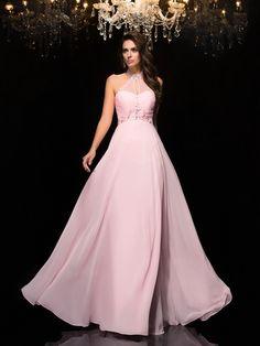 A-Line/Princess Halter Beading Sleeveless Floor-Length Chiffon Dresses JollyProm