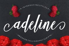 Introducing Adeline Font Adeline is a calligraphy script font with varied base lines, designed to convey elegance and style. It's smooth, clean and feminine.