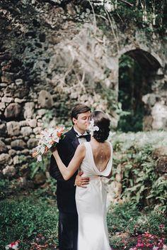 tracy + john | Livia Wedding Gown from BHLDN | st. lucia elopement | image via: junebug weddings | #BHLDNbride