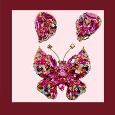 Let's Get Vintage - Butterflies - Sensational pink/fuchsia butterfly brooch and earrings. Signed REGENCY - Vintage Costume Jewelry