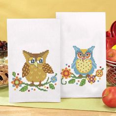 Herrschners®  Bright Owls Towel Pair Stamped Cross-Stitch