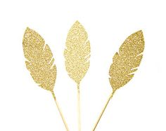 6 Gold Glitter Feather Cupcake Toppers. by PaperTrailbyLauraB