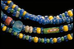 Glass bead necklaces found in a Viking-age grave at Birka (Björkö, Norr om Borg) in Sweden