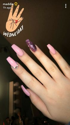 22 Best Ideas For Nails Acrylic Designs Purple パープルネイルのアイデア Cute Acrylic Nails, Acrylic Nail Designs, Cute Nails, Acrylic Nails With Design, Nails Design, Aycrlic Nails, Pink Nails, Hair And Nails, Birthday Nails