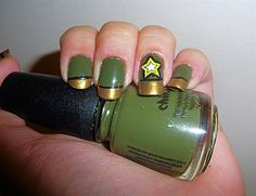 Army Nail Art For my daughter in the Army. Military Nails, Army Nails, Military Life, Military Green, Army Nail Art, Usa Nails, Spring Nail Trends, Nailart, Nails Only