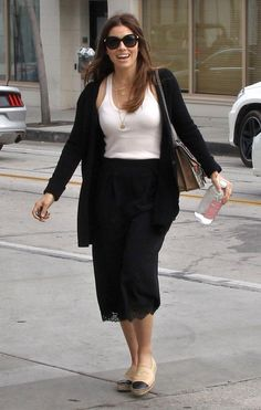 Jessica Biel wearing Jennifer Meyer Letter Gold Diamond Necklace, Gucci Dionysus Gg Supreme Shoulder Bag and Chanel Espadrilles