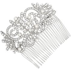 Vintage Crystal Filigree And Pearl Hair Comb ($62) ❤ liked on Polyvore