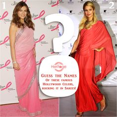 Can you guess the names of these ‪#‎Hollywood‬ celebs looking amazing in lovely pink coloured ‪#‎sarees‬?  Tell us in the comments section below.